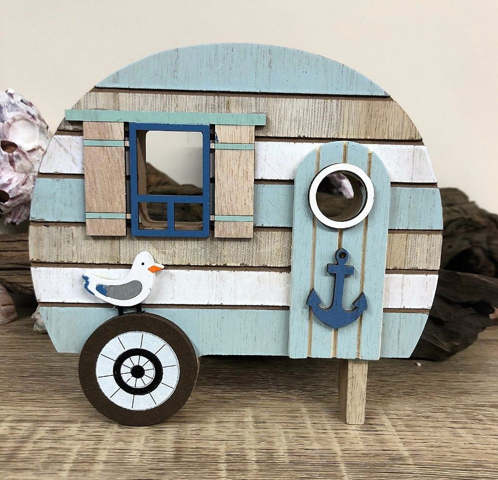 Beach Caravan Turquoise and Blue Wood Decor